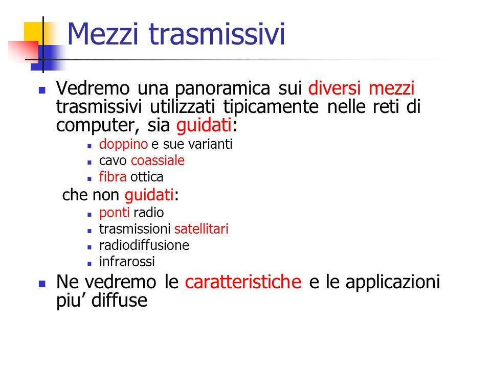 Mezzi trasmissivi Vedremo una panoramica sui diversi mezzi trasmissivi utilizzati tipicamente nelle reti di computer, sia guidati:
