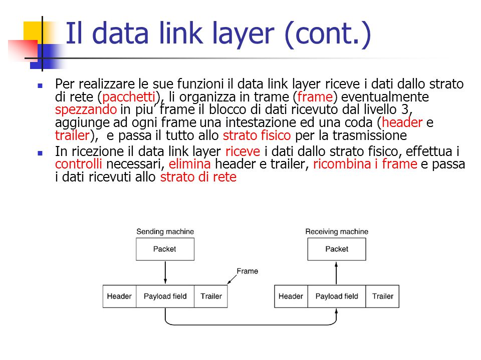 Il data link layer (cont.)