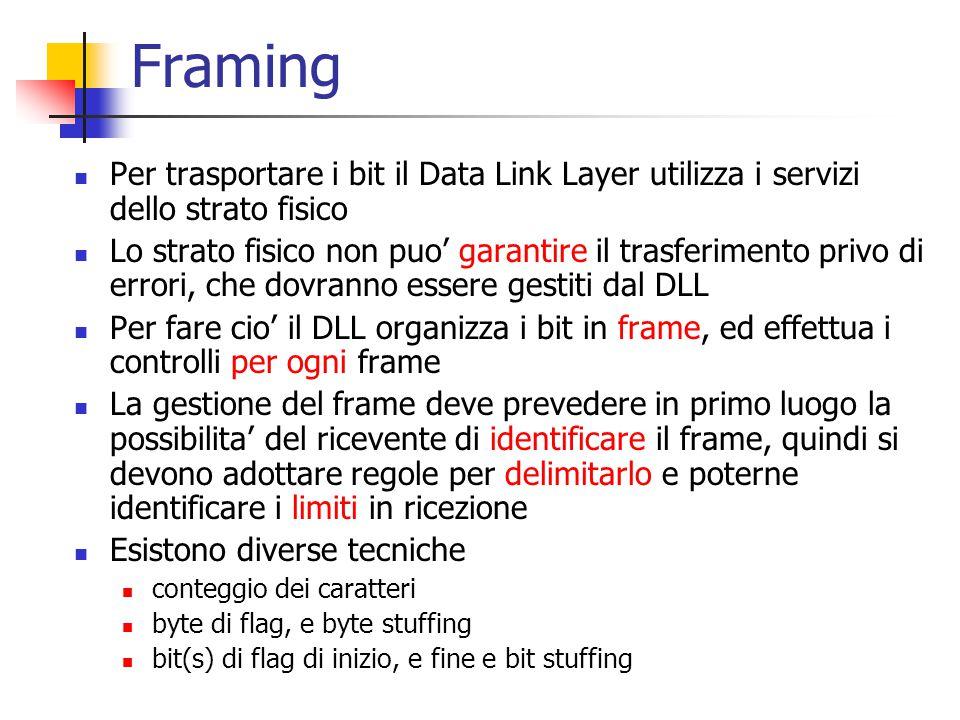 Framing Per trasportare i bit il Data Link Layer utilizza i servizi dello strato fisico.