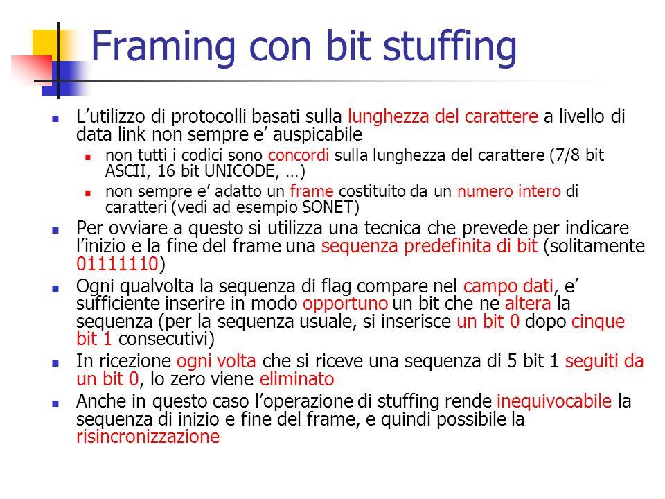Framing con bit stuffing