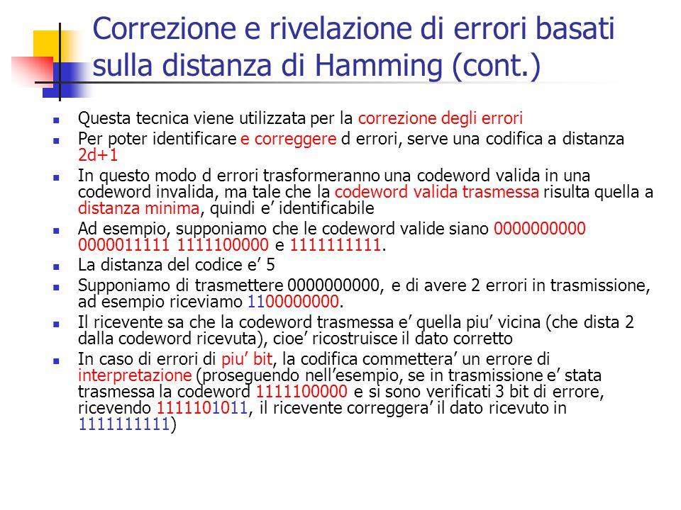 Correzione e rivelazione di errori basati sulla distanza di Hamming (cont.)
