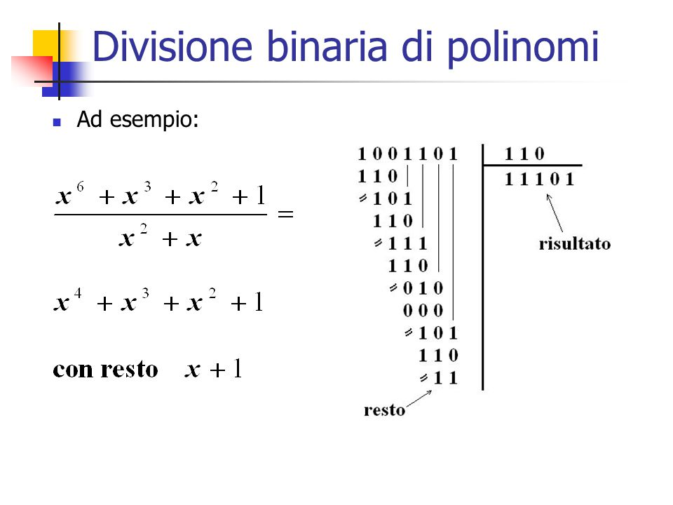 Divisione binaria di polinomi