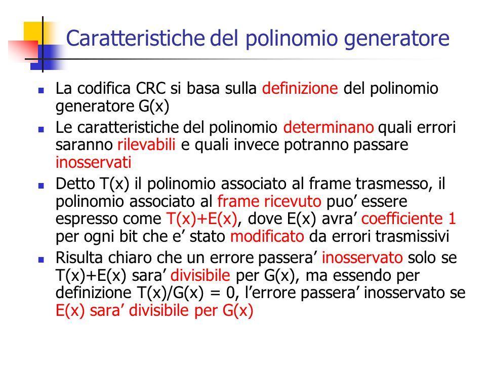Caratteristiche del polinomio generatore