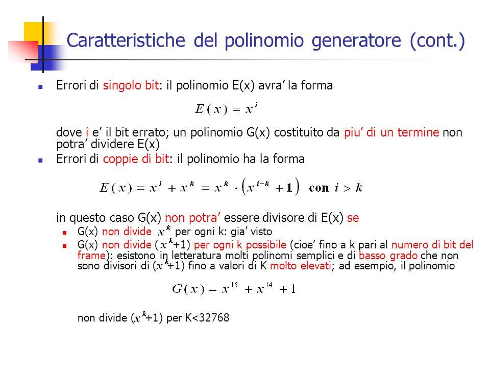 Caratteristiche del polinomio generatore (cont.)