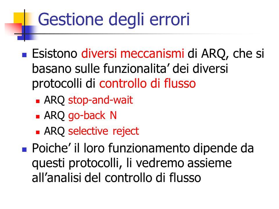Gestione degli errori Esistono diversi meccanismi di ARQ, che si basano sulle funzionalita' dei diversi protocolli di controllo di flusso.