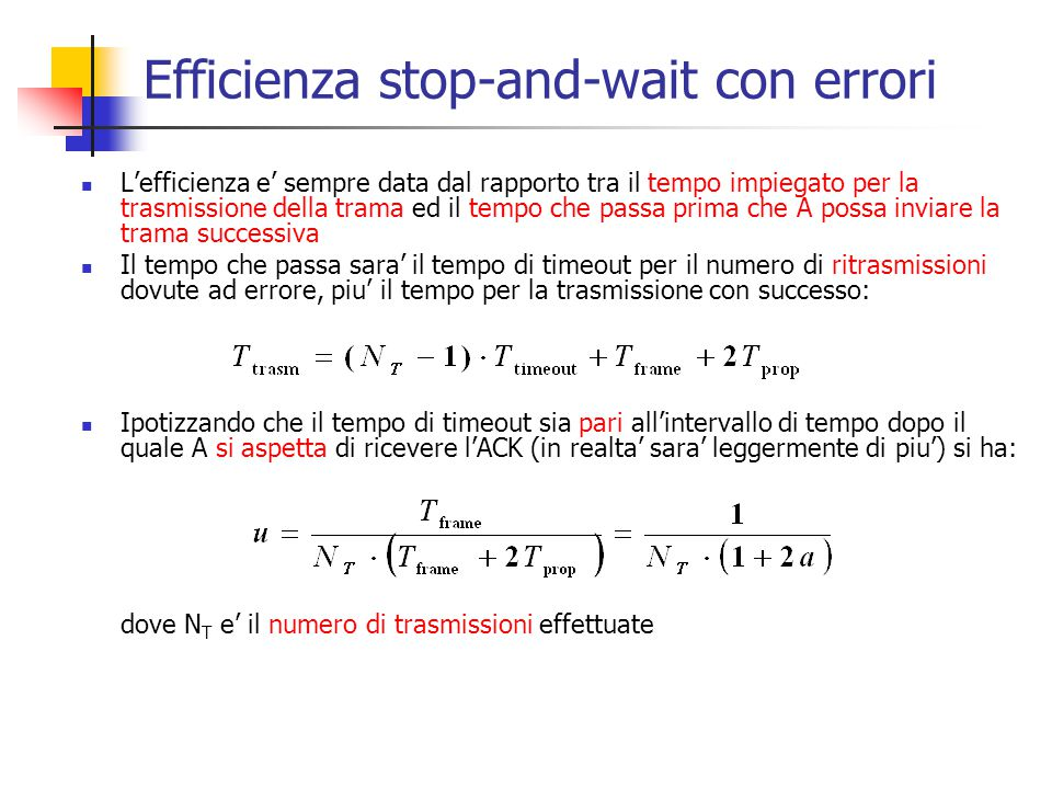 Efficienza stop-and-wait con errori