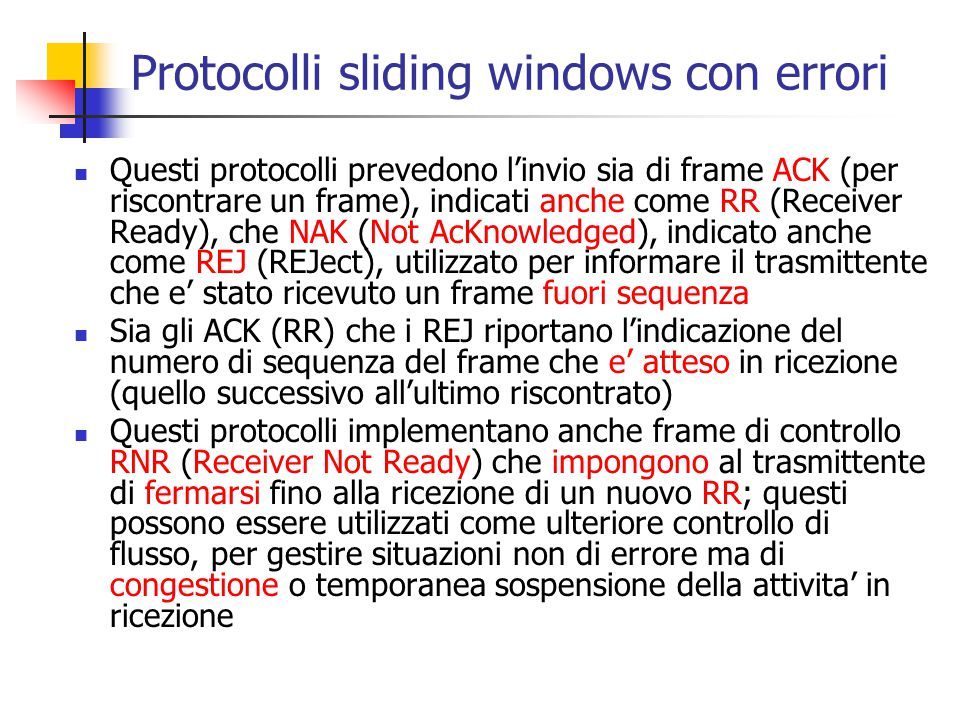 Protocolli sliding windows con errori