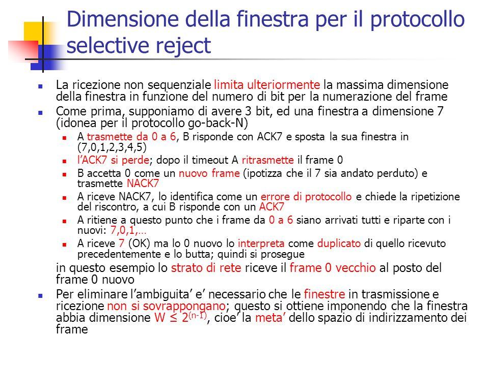 Dimensione della finestra per il protocollo selective reject