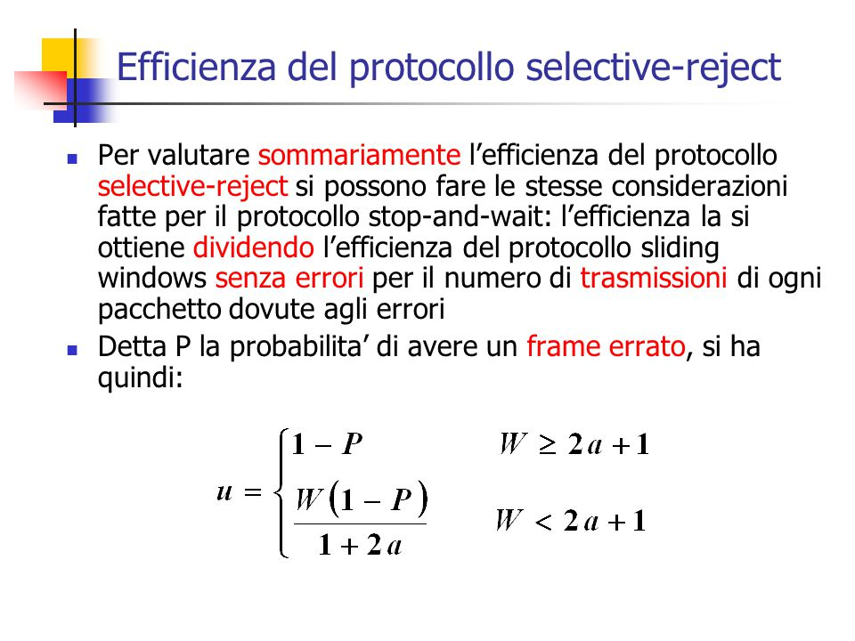 Efficienza del protocollo selective-reject