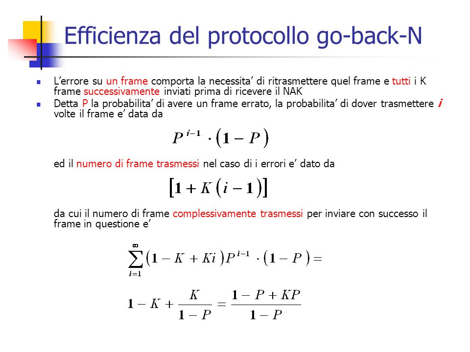 Efficienza del protocollo go-back-N