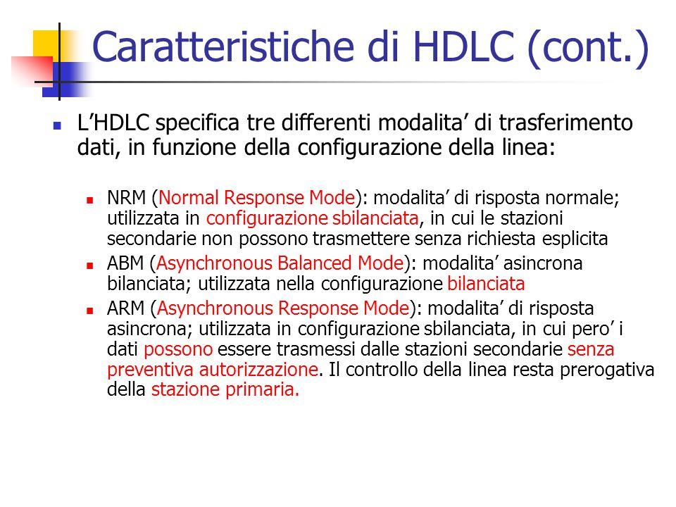 Caratteristiche di HDLC (cont.)
