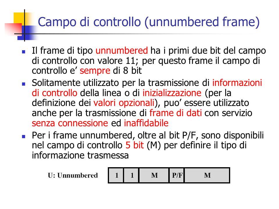 Campo di controllo (unnumbered frame)