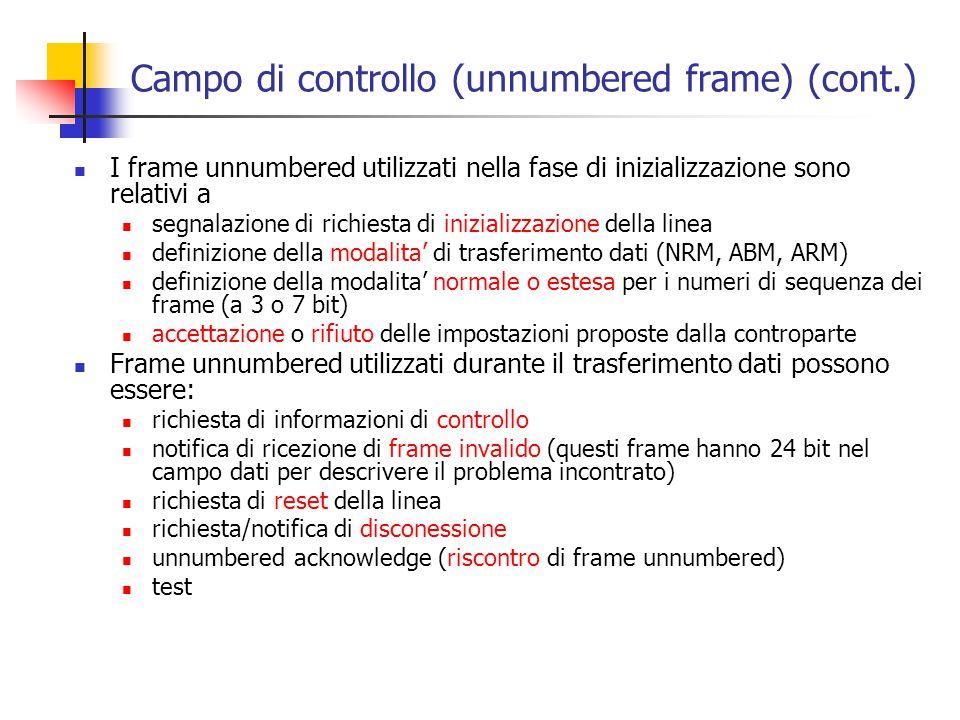 Campo di controllo (unnumbered frame) (cont.)