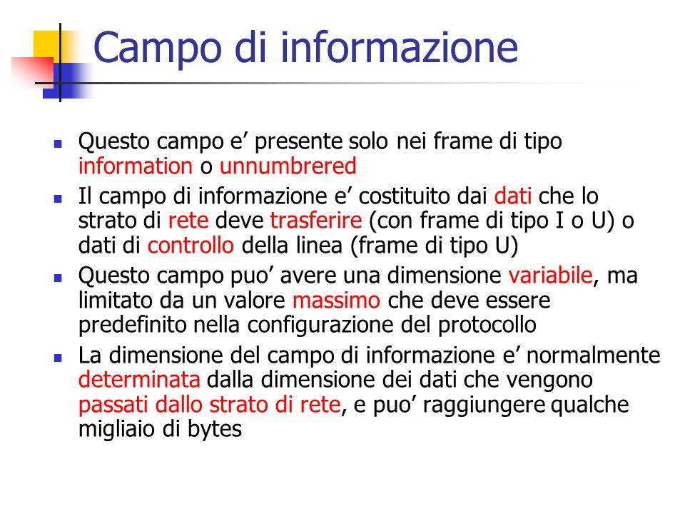 Campo di informazione Questo campo e' presente solo nei frame di tipo information o unnumbrered.