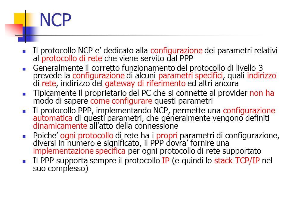 NCP Il protocollo NCP e' dedicato alla configurazione dei parametri relativi al protocollo di rete che viene servito dal PPP.
