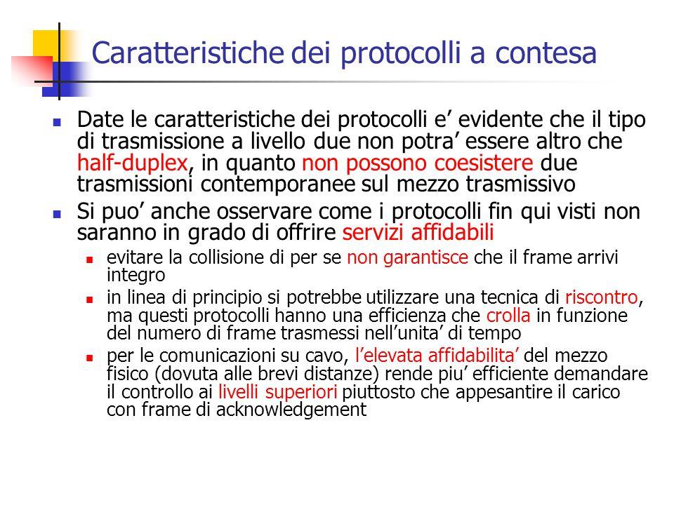 Caratteristiche dei protocolli a contesa