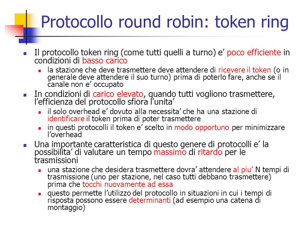 Protocollo round robin: token ring