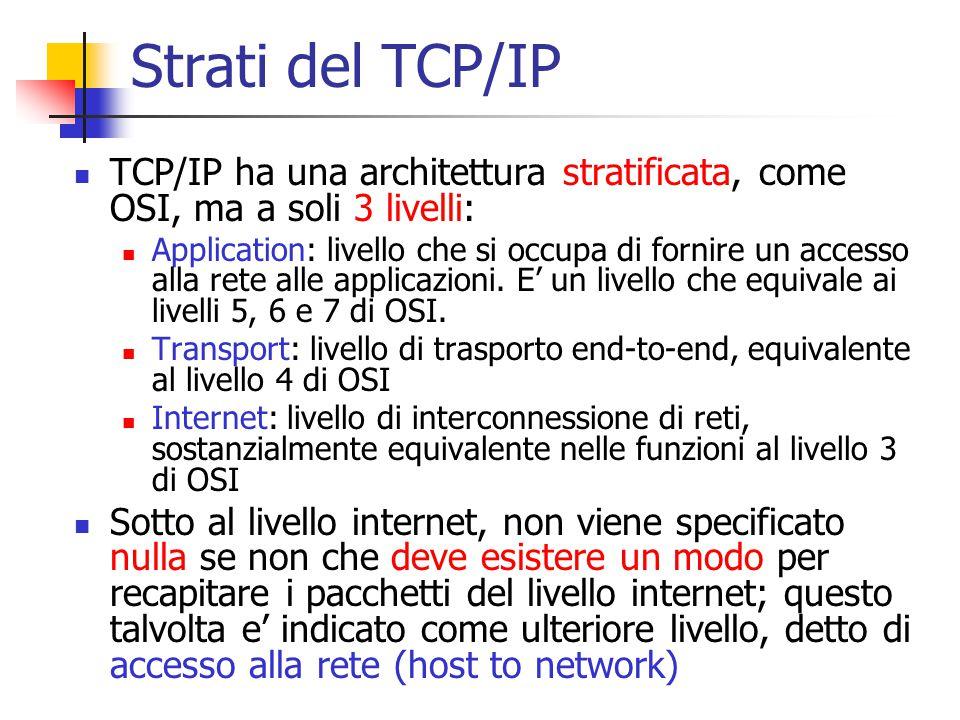 Strati del TCP/IP TCP/IP ha una architettura stratificata, come OSI, ma a soli 3 livelli: