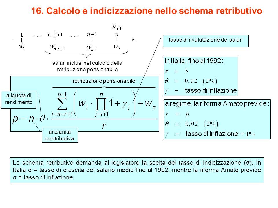 16. Calcolo e indicizzazione nello schema retributivo