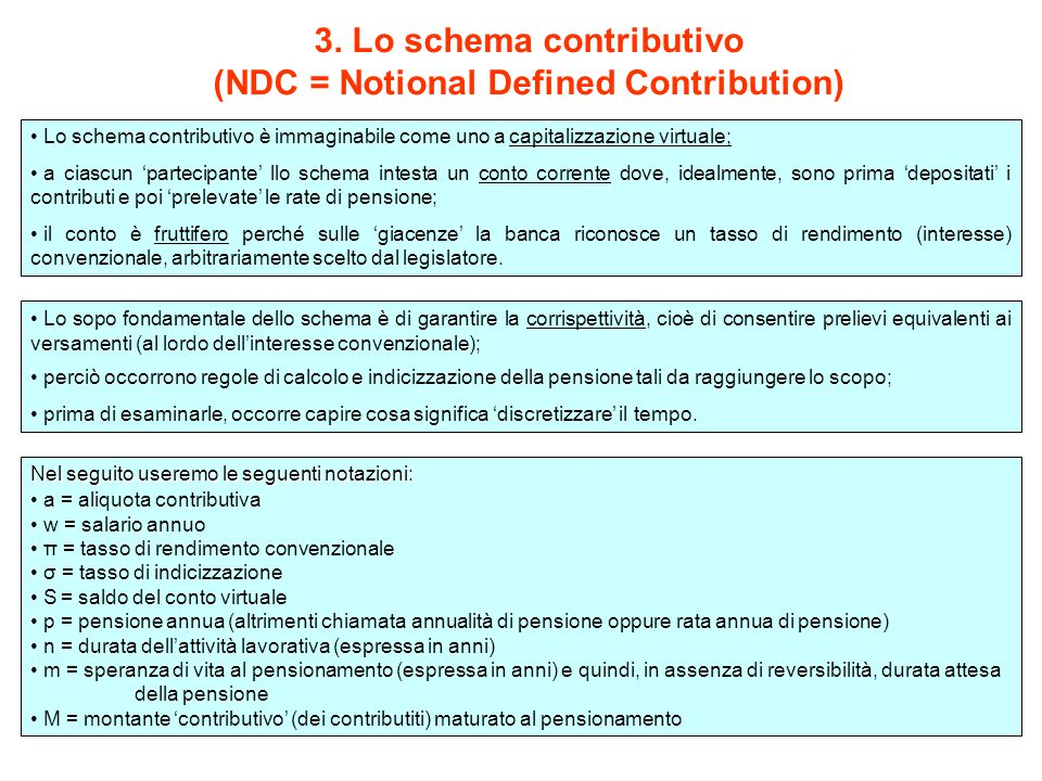 3. Lo schema contributivo (NDC = Notional Defined Contribution)