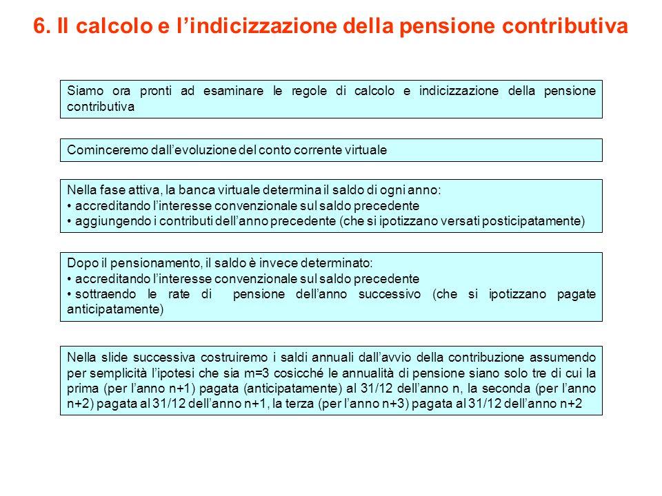 6. Il calcolo e l'indicizzazione della pensione contributiva