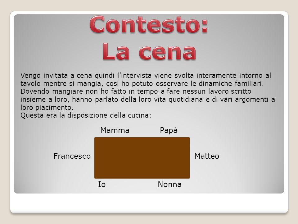 Contesto: La cena Mamma Papà Francesco Matteo Io Nonna