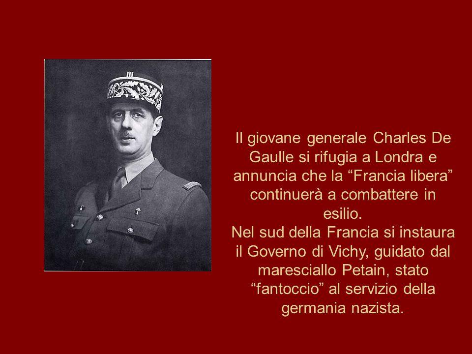 Il giovane generale Charles De Gaulle si rifugia a Londra e annuncia che la Francia libera continuerà a combattere in esilio.