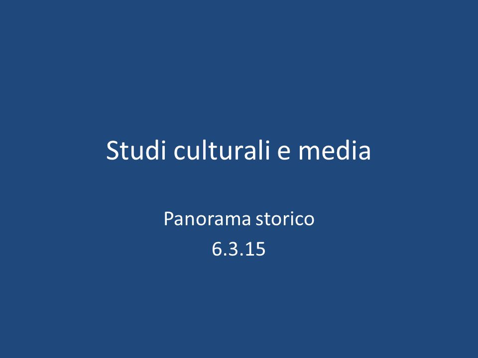 Studi culturali e media