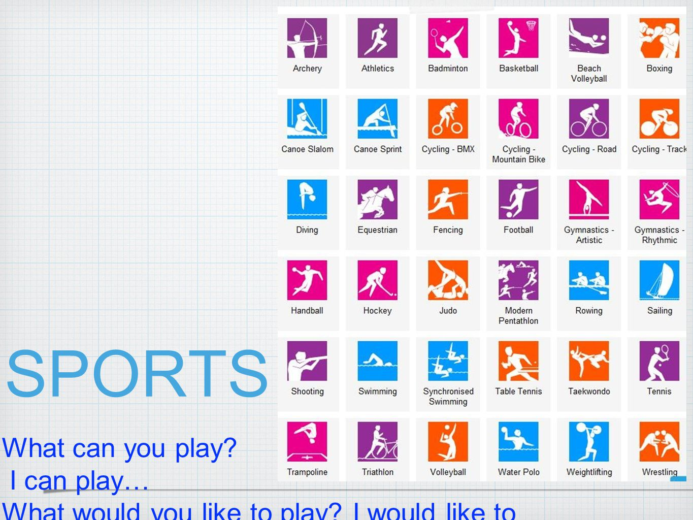 SPORTS What can you play I can play…