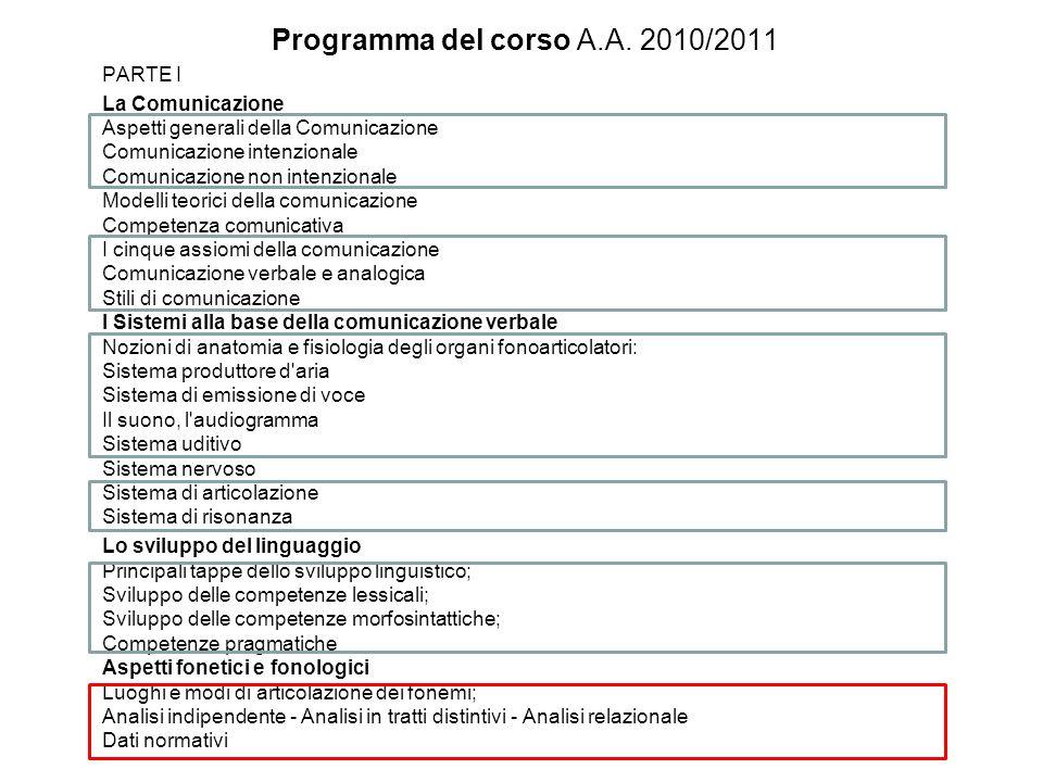 Programma del corso A.A. 2010/2011