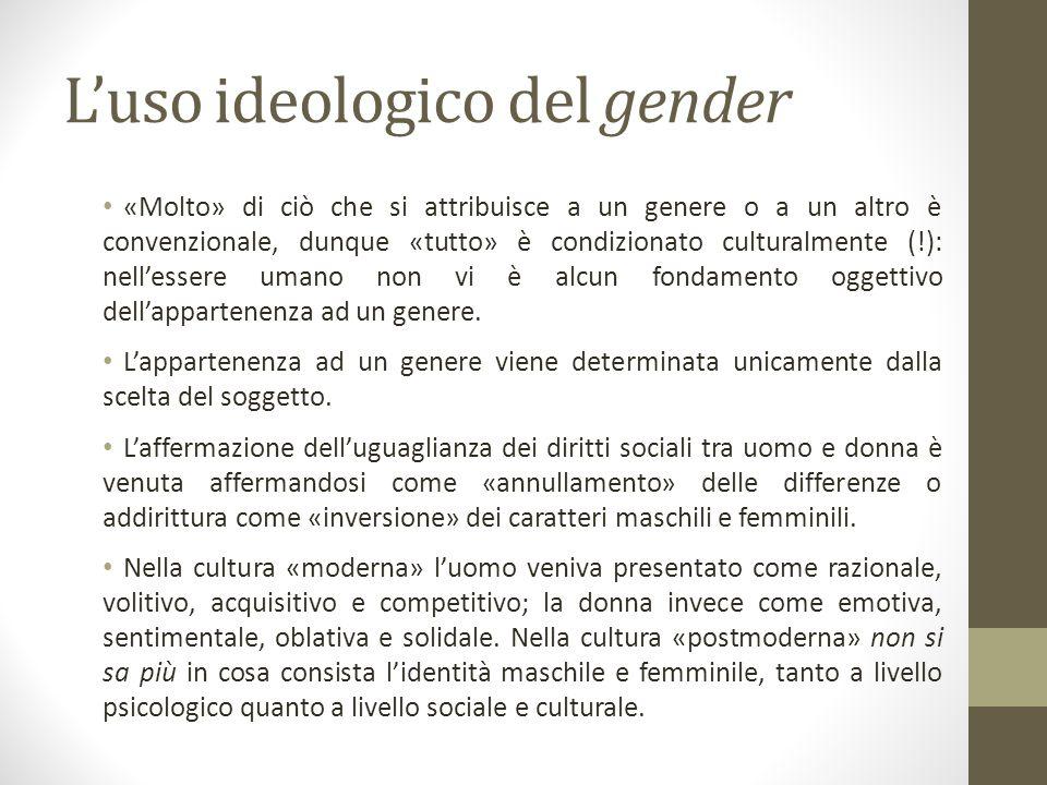L'uso ideologico del gender