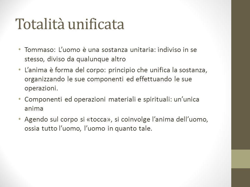 Totalità unificata Tommaso: L'uomo è una sostanza unitaria: indiviso in se stesso, diviso da qualunque altro.