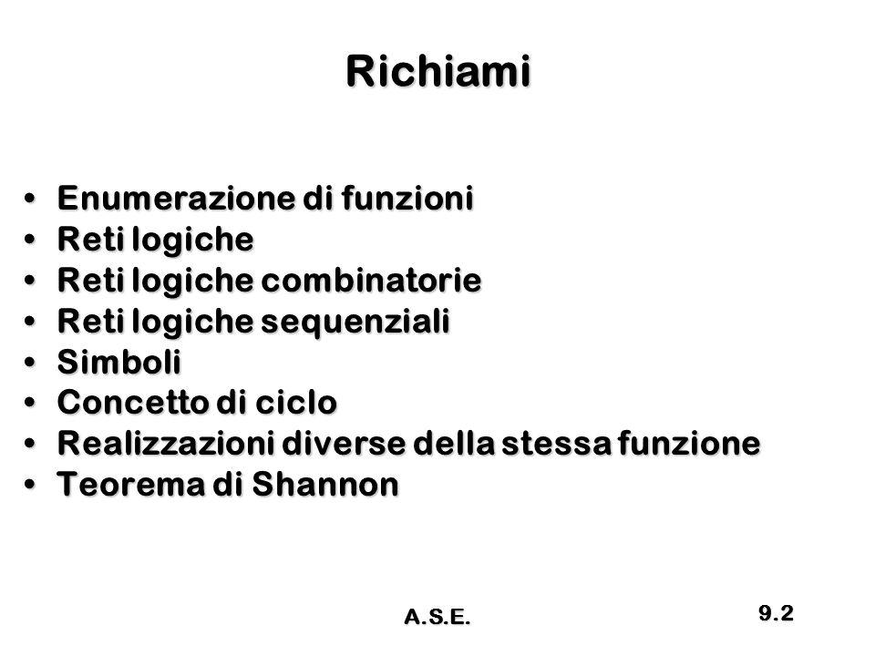Richiami Enumerazione di funzioni Reti logiche