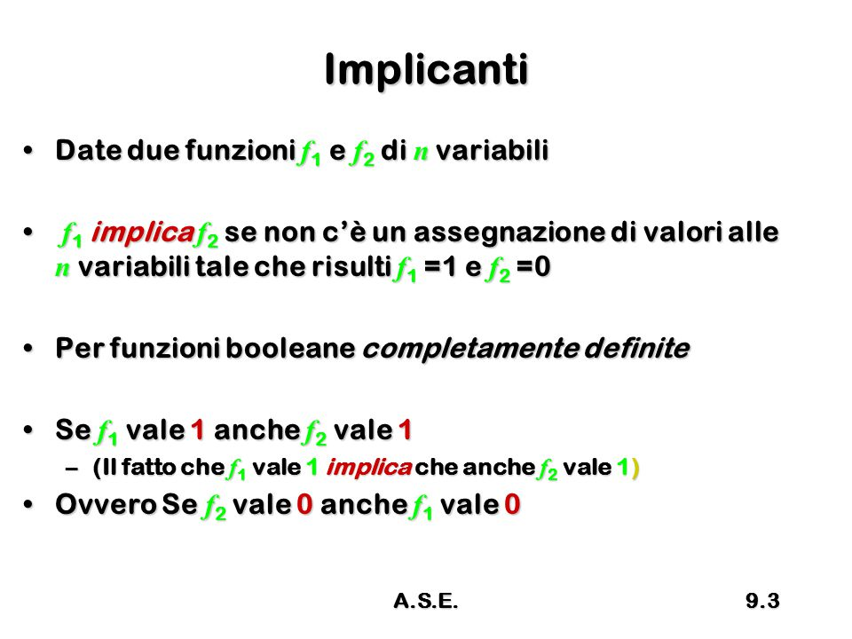 Implicanti Date due funzioni f1 e f2 di n variabili