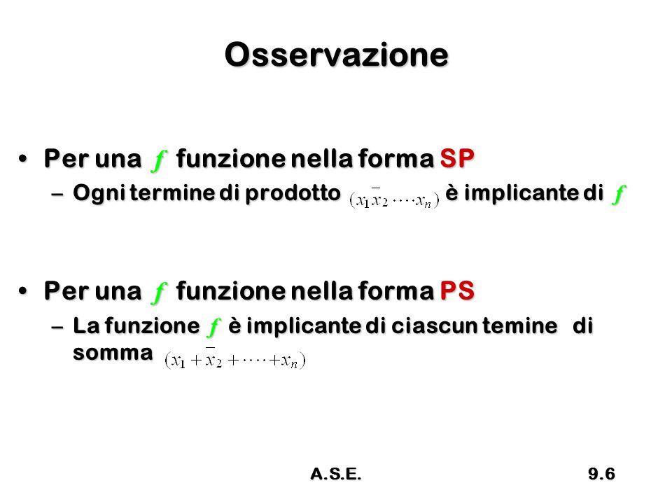 Osservazione Per una f funzione nella forma SP