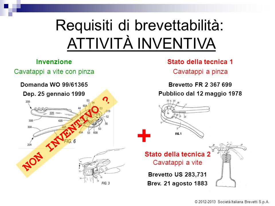 + Requisiti di brevettabilità: ATTIVITÀ INVENTIVA NON INVENTIVO