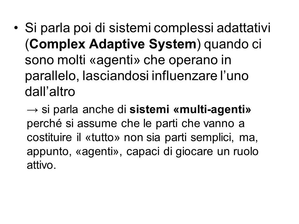 Si parla poi di sistemi complessi adattativi (Complex Adaptive System) quando ci sono molti «agenti» che operano in parallelo, lasciandosi influenzare l'uno dall'altro