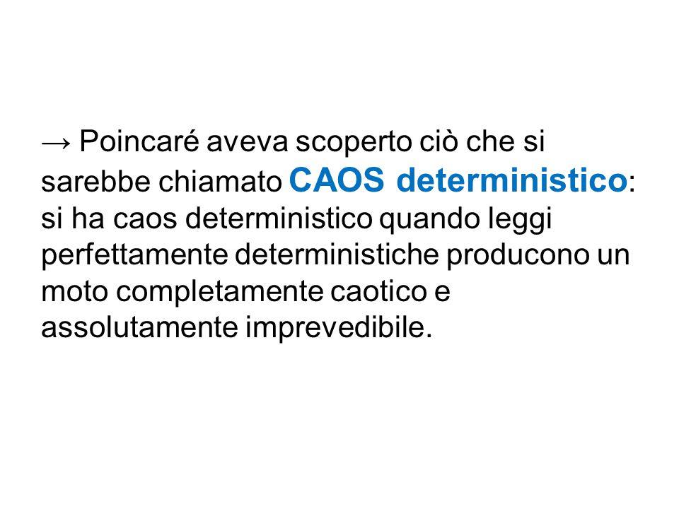 → Poincaré aveva scoperto ciò che si sarebbe chiamato CAOS deterministico: si ha caos deterministico quando leggi perfettamente deterministiche producono un moto completamente caotico e assolutamente imprevedibile.