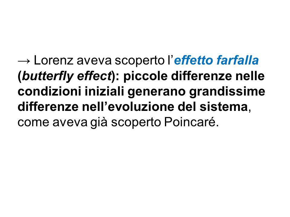 → Lorenz aveva scoperto l'effetto farfalla (butterfly effect): piccole differenze nelle condizioni iniziali generano grandissime differenze nell'evoluzione del sistema, come aveva già scoperto Poincaré.
