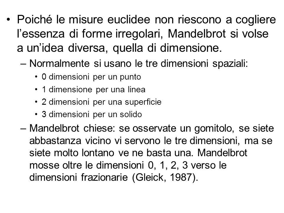 Poiché le misure euclidee non riescono a cogliere l'essenza di forme irregolari, Mandelbrot si volse a un'idea diversa, quella di dimensione.