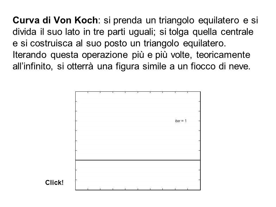 Curva di Von Koch: si prenda un triangolo equilatero e si divida il suo lato in tre parti uguali; si tolga quella centrale e si costruisca al suo posto un triangolo equilatero. Iterando questa operazione più e più volte, teoricamente all'infinito, si otterrà una figura simile a un fiocco di neve.