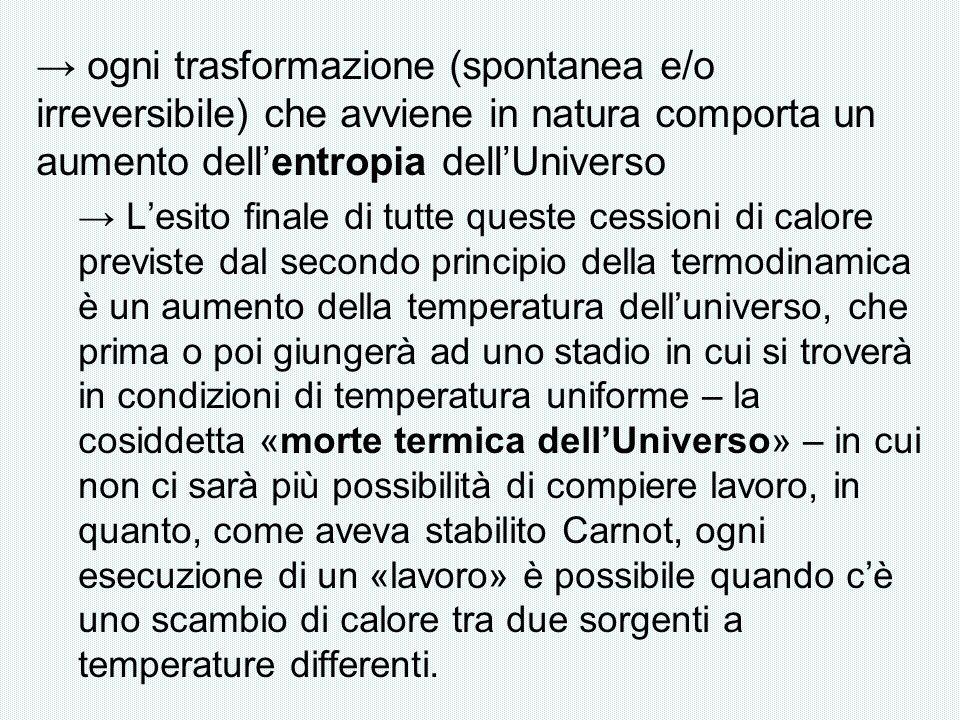 → ogni trasformazione (spontanea e/o irreversibile) che avviene in natura comporta un aumento dell'entropia dell'Universo