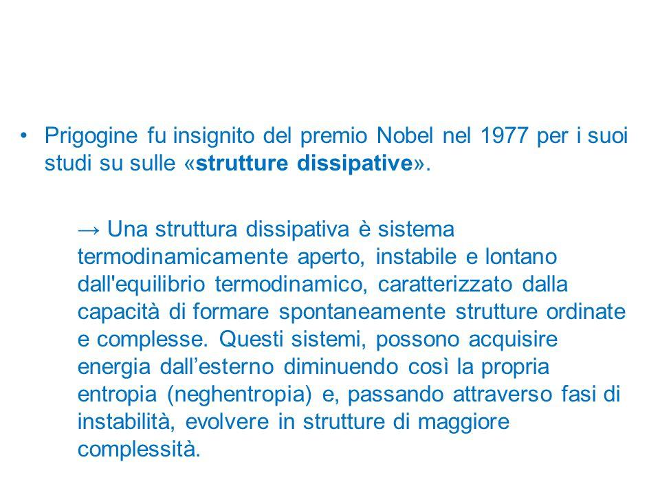 Prigogine fu insignito del premio Nobel nel 1977 per i suoi studi su sulle «strutture dissipative».