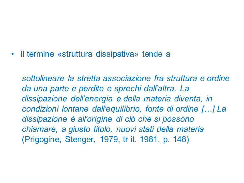 Il termine «struttura dissipativa» tende a