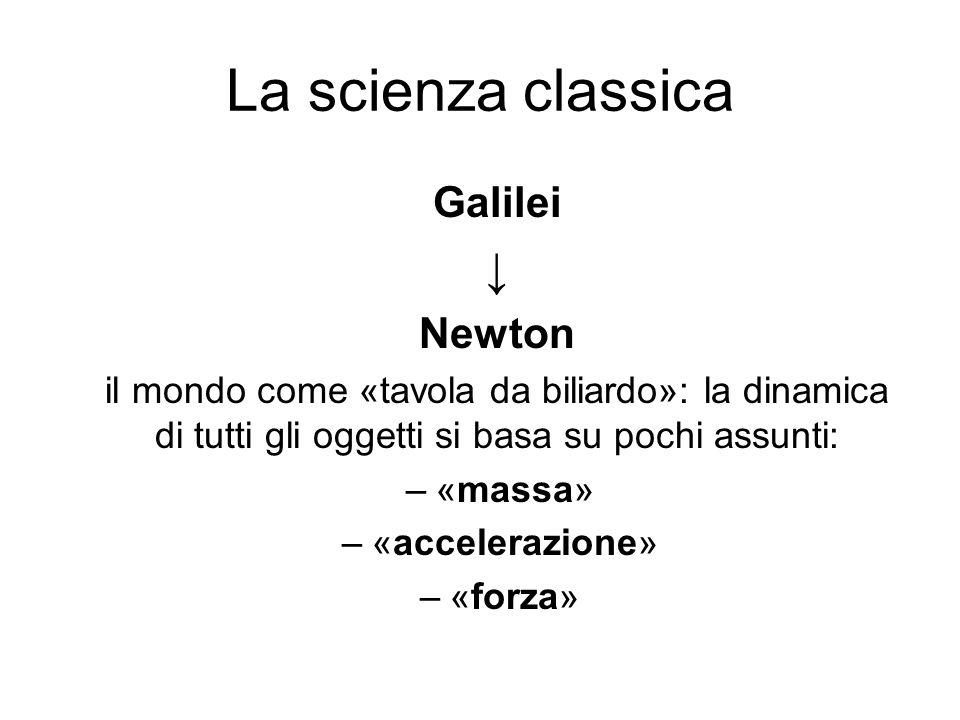 La scienza classica ↓ Galilei Newton