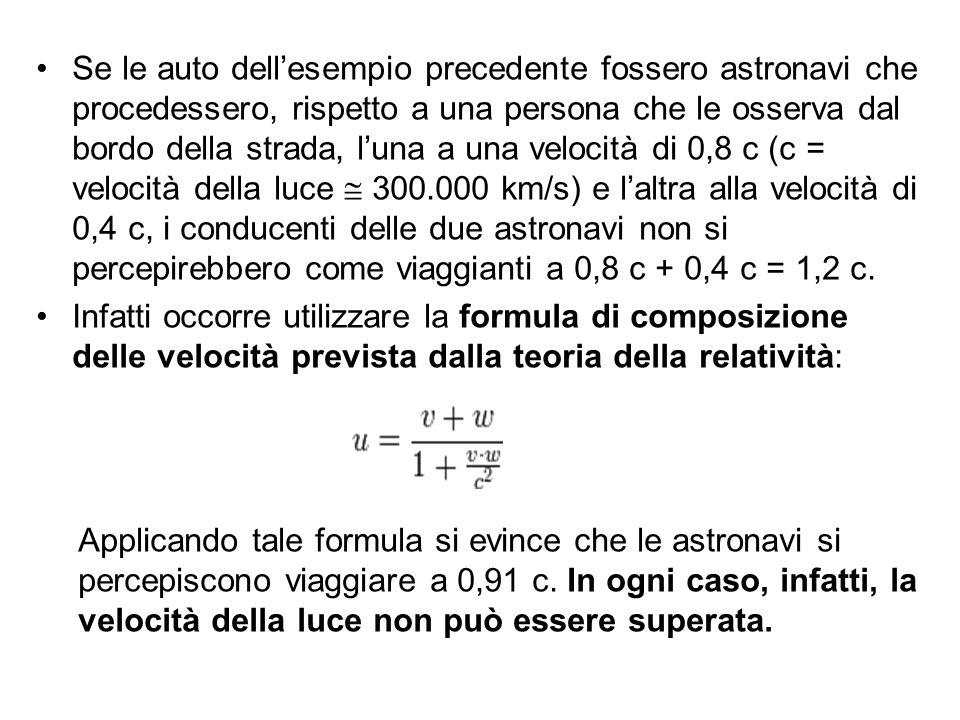 Se le auto dell'esempio precedente fossero astronavi che procedessero, rispetto a una persona che le osserva dal bordo della strada, l'una a una velocità di 0,8 c (c = velocità della luce  300.000 km/s) e l'altra alla velocità di 0,4 c, i conducenti delle due astronavi non si percepirebbero come viaggianti a 0,8 c + 0,4 c = 1,2 c.
