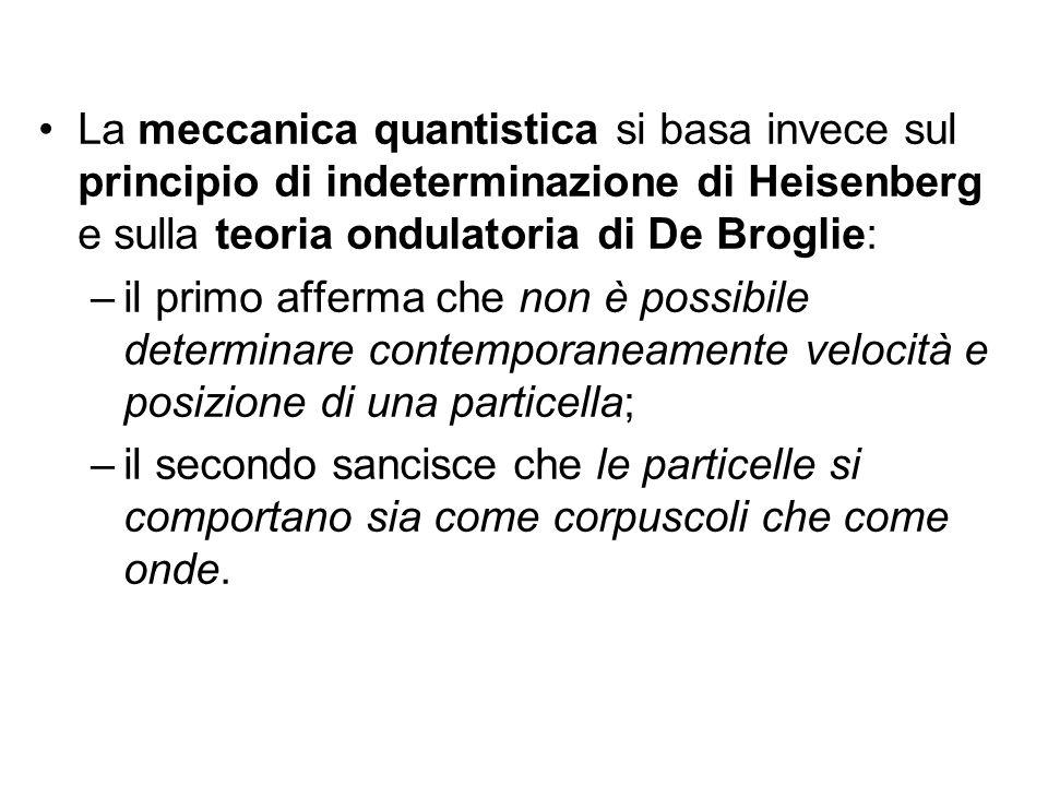 La meccanica quantistica si basa invece sul principio di indeterminazione di Heisenberg e sulla teoria ondulatoria di De Broglie:
