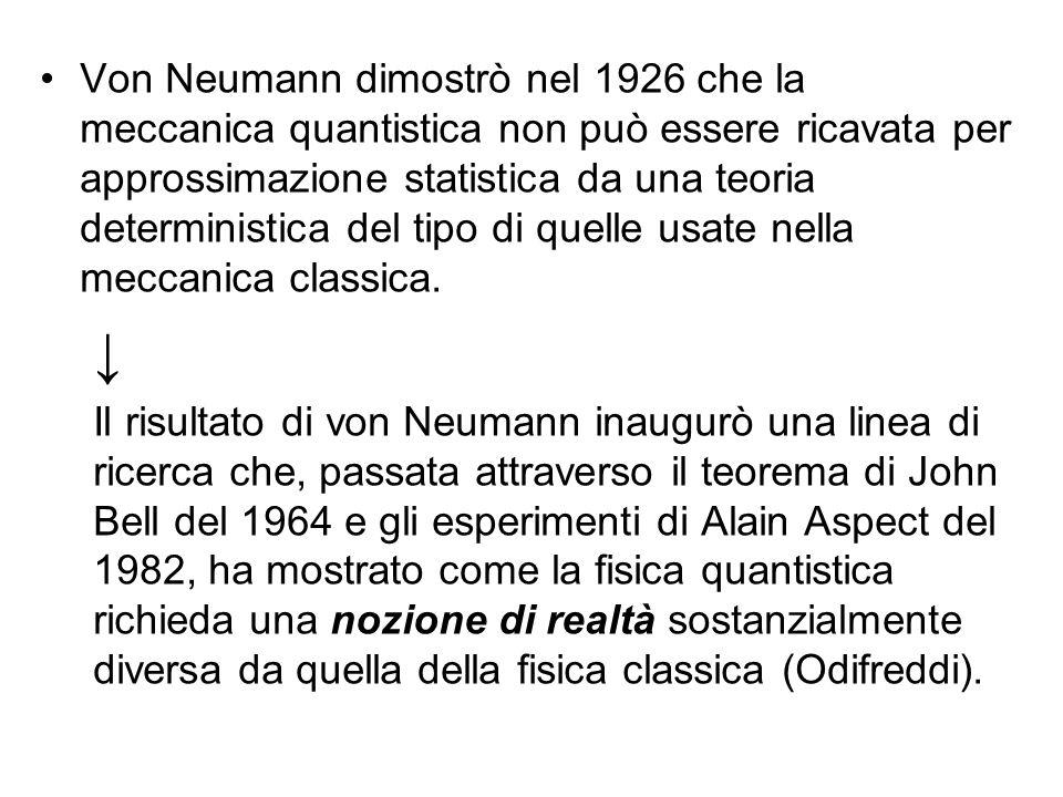 Von Neumann dimostrò nel 1926 che la meccanica quantistica non può essere ricavata per approssimazione statistica da una teoria deterministica del tipo di quelle usate nella meccanica classica.