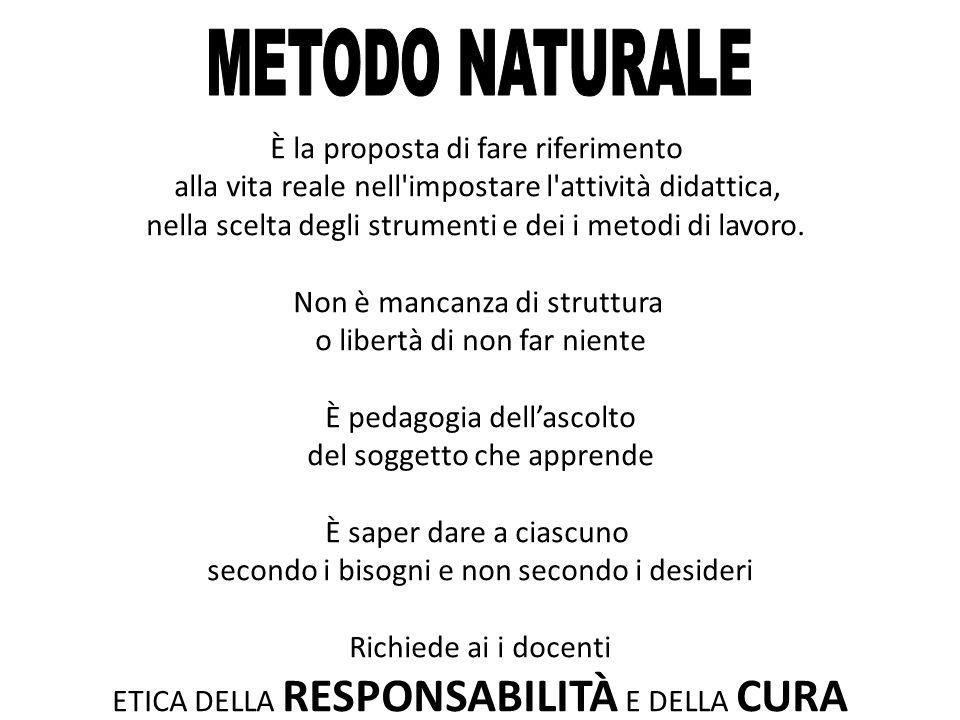 METODO NATURALE È la proposta di fare riferimento