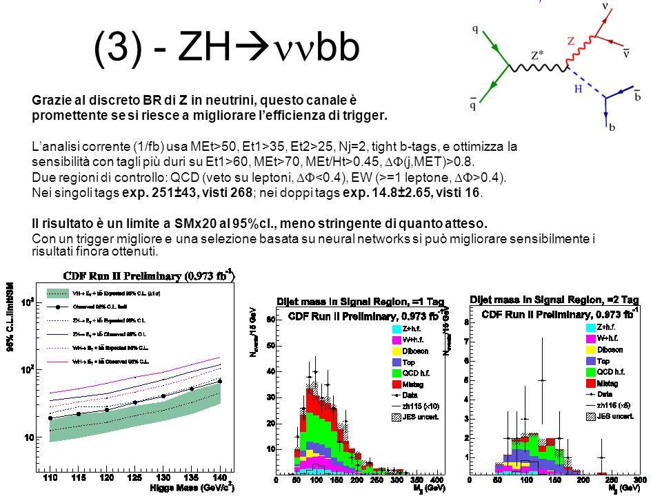 (3) - ZHnnbb Grazie al discreto BR di Z in neutrini, questo canale è